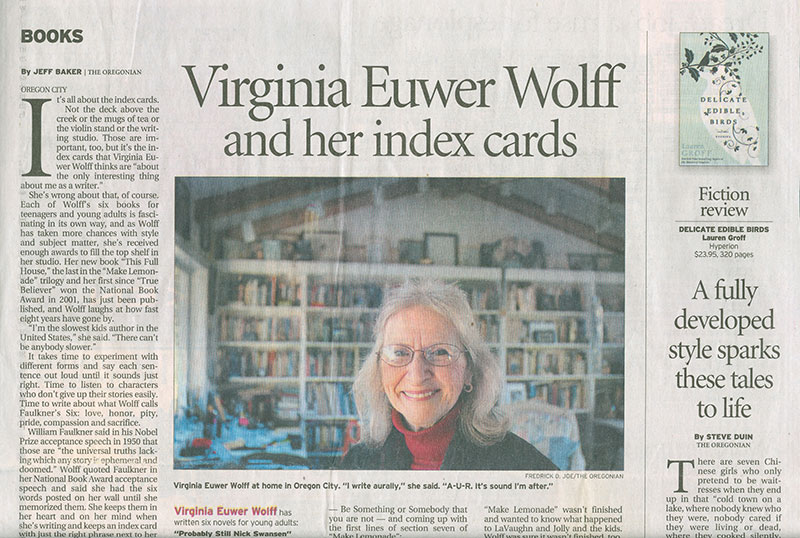 Virginia Euwer Wolff and Her Index Cards